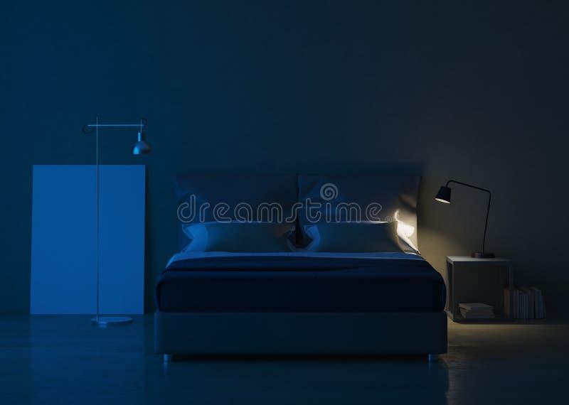 Σύγχρονο εσωτερικό σπιτιών Εσωτερικό σχέδιο κρεβατοκάμαρων απεικόνιση αποθεμάτων
