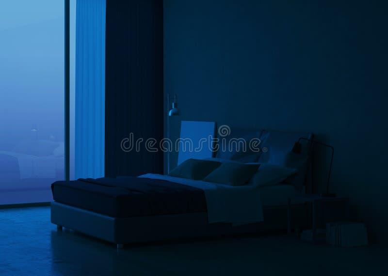 Σύγχρονο εσωτερικό σπιτιών Εσωτερικό σχέδιο κρεβατοκάμαρων ελεύθερη απεικόνιση δικαιώματος