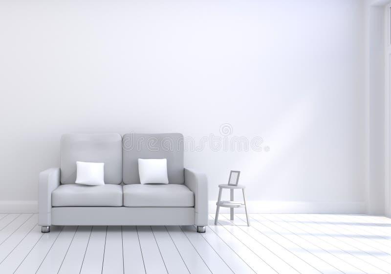 Σύγχρονο εσωτερικό σχέδιο του καθιστικού με τον γκρίζο καναπέ με το άσπρο και ξύλινο στιλπνό πλαίσιο πατωμάτων και φωτογραφιών Άσ διανυσματική απεικόνιση