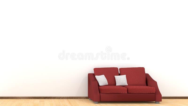 Σύγχρονο εσωτερικό σχέδιο του καθιστικού με τον κόκκινο καναπέ στο ξύλινο πάτωμα Άσπρα στοιχεία μαξιλαριών Έννοια σπιτιών και δια διανυσματική απεικόνιση