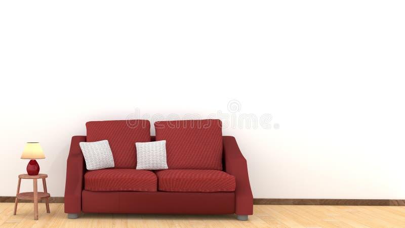 Σύγχρονο εσωτερικό σχέδιο του καθιστικού με τον κόκκινο καναπέ στο ξύλινο πάτωμα Άσπροι μαξιλάρια και λαμπτήρας στα ξύλινα επιτρα απεικόνιση αποθεμάτων