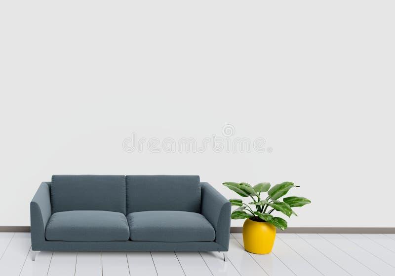 Σύγχρονο εσωτερικό σχέδιο του καθιστικού με το μαύρο καναπέ με το άσπρο και ξύλινο στιλπνό δοχείο πατωμάτων και εγκαταστάσεων Ένν διανυσματική απεικόνιση