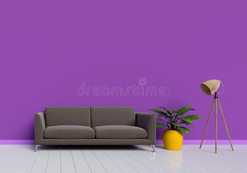 Σύγχρονο εσωτερικό σχέδιο του πορφυρού καθιστικού με τον καφετή καναπέ και του κίτρινου δοχείου εγκαταστάσεων στο άσπρο στιλπνό ξ διανυσματική απεικόνιση