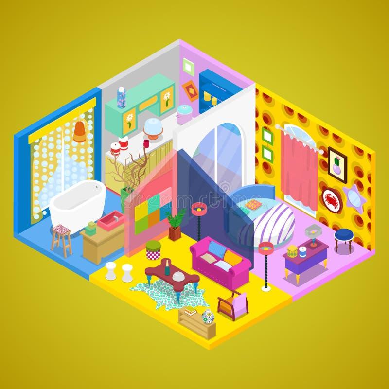 Σύγχρονο εσωτερικό σχέδιο διαμερισμάτων Εσωτερικό σπίτι στο ύφος κιτς Isometric επίπεδη τρισδιάστατη απεικόνιση διανυσματική απεικόνιση
