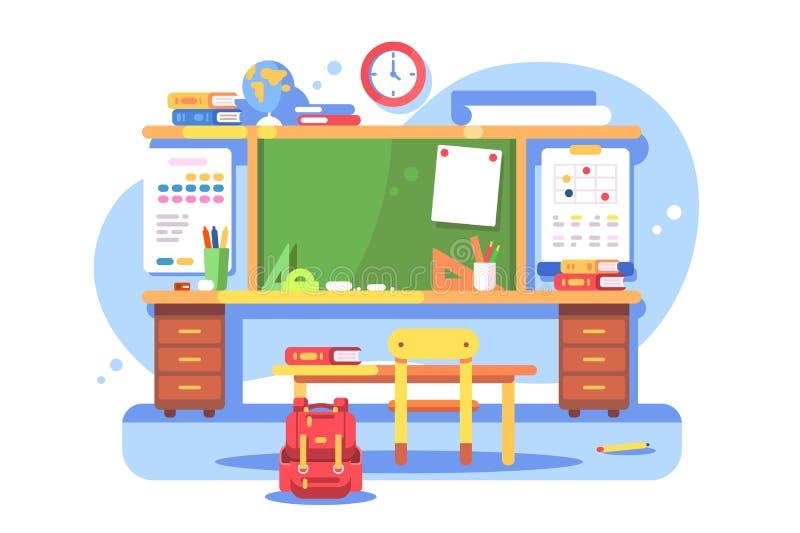 Σύγχρονο εσωτερικό σχολικών τάξεων διανυσματική απεικόνιση