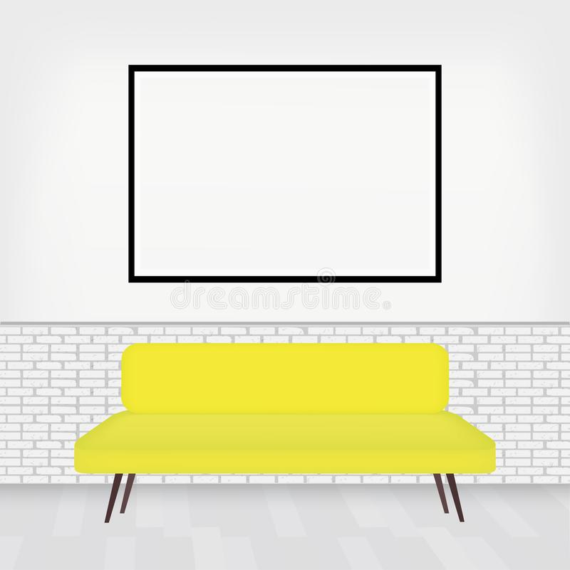 Σύγχρονο εσωτερικό του δωματίου με το μοντέρνο καναπέ και του μεγάλου πλαισίου pictur για το σχέδιό σας Άσπρος τουβλότοιχος στο ά απεικόνιση αποθεμάτων