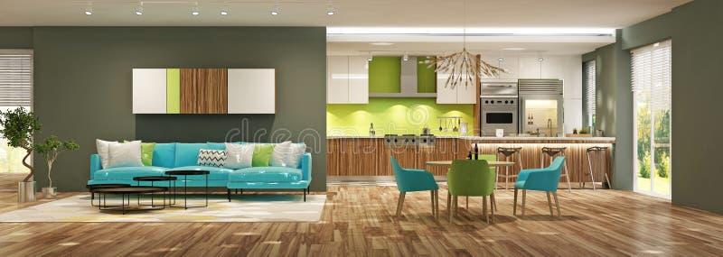 Σύγχρονο εσωτερικό του καθιστικού με την κουζίνα στο εσωτερικό ή το δι απεικόνιση αποθεμάτων