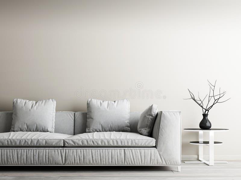 Σύγχρονο εσωτερικό του καθιστικού, της έννοιας εγχώριων ντεκόρ, του άσπρων καναπέ και του πίνακα με τον μπεζ τοίχο και το woodflo διανυσματική απεικόνιση