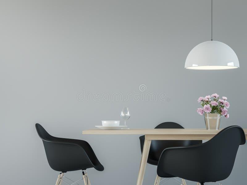 Σύγχρονο εσωτερικό τραπεζαρίας με τη μαύρη & άσπρη ελάχιστη τρισδιάστατη δίνοντας εικόνα ύφους διανυσματική απεικόνιση