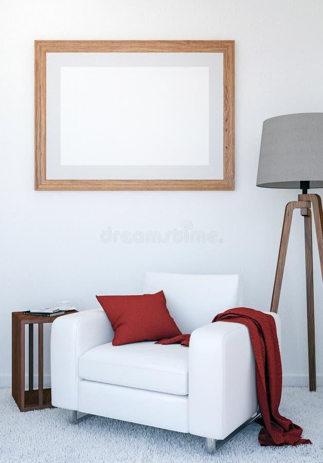Σύγχρονο εσωτερικό υπόβαθρο καθιστικών πολυτέλειας με το πλαστό επάνω κενό πλαίσιο αφισών, τρισδιάστατη απόδοση ελεύθερη απεικόνιση δικαιώματος