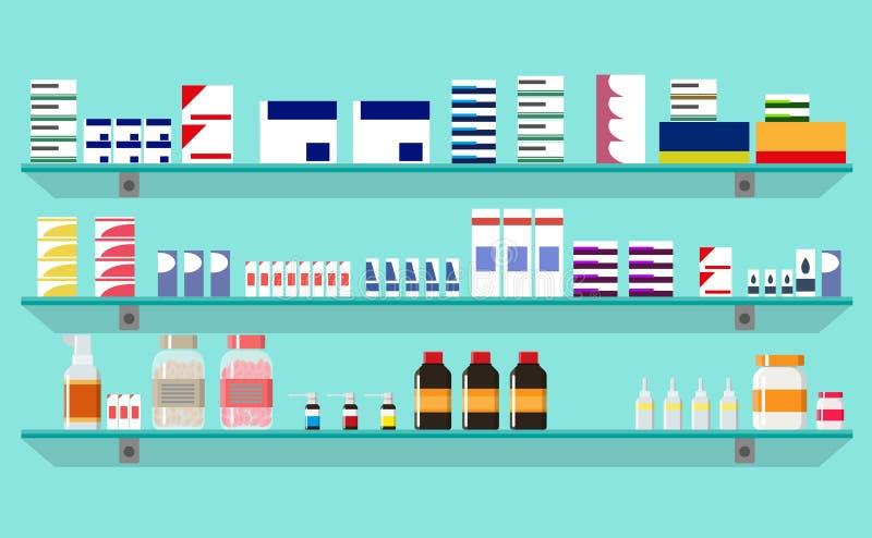 Σύγχρονο εσωτερικό φαρμακείο ή φαρμακείο ελεύθερη απεικόνιση δικαιώματος