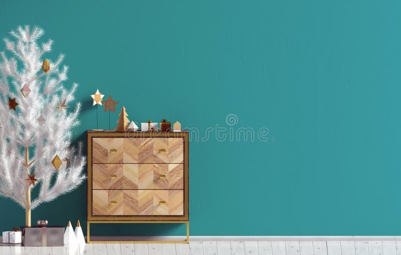 Σύγχρονο εσωτερικό Χριστουγέννων με το κομμό και το χριστουγεννιάτικο δέντρο, Scand απεικόνιση αποθεμάτων