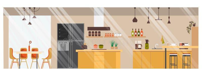 Σύγχρονο ευρύχωρο διανυσματικό εσωτερικό σχέδιο κουζινών διανυσματική απεικόνιση