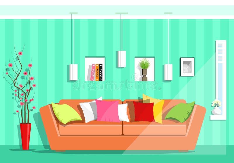 Σύγχρονο ζωηρόχρωμο γραφικό καθιστικό με το παράθυρο Ο επίπεδος καναπές ύφους, μαξιλάρια, λαμπτήρες, ράφια, βάζο με το sakura ανθ ελεύθερη απεικόνιση δικαιώματος