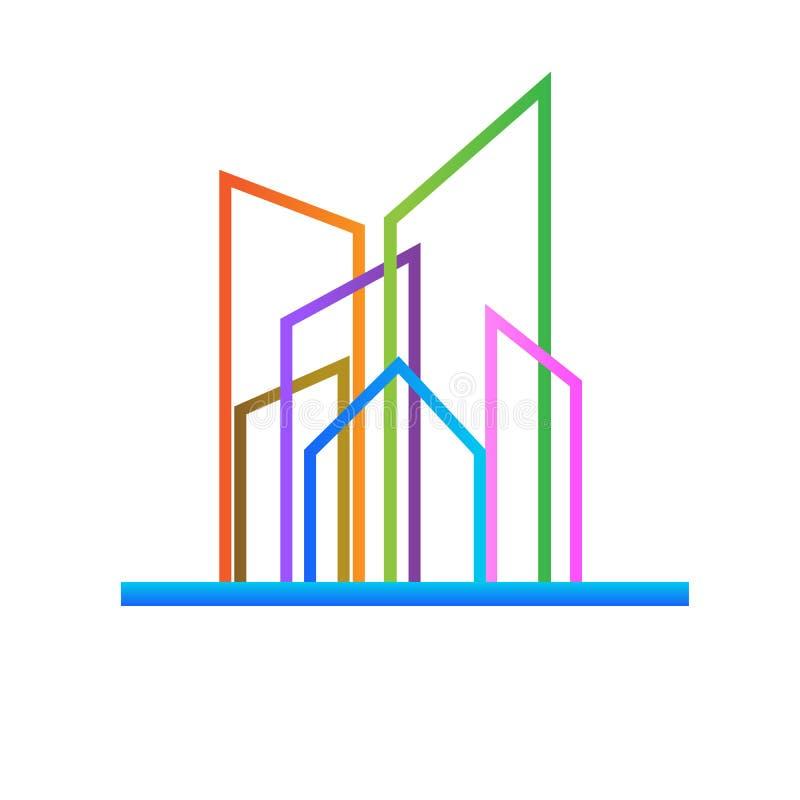 Σύγχρονο ζωηρόχρωμο διάνυσμα εικονιδίων κτηρίων λογότυπων ελεύθερη απεικόνιση δικαιώματος