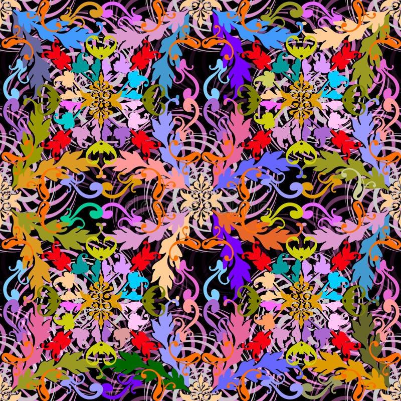 Σύγχρονο ζωηρόχρωμο μπαρόκ διανυσματικό άνευ ραφής σχέδιο Περίληψη geomet απεικόνιση αποθεμάτων