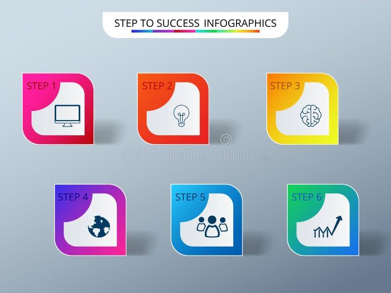 Σύγχρονο ζωηρόχρωμο πρότυπο επιχειρησιακού infographics επιτυχίας με τα εικονίδια και τα στοιχεία ελεύθερη απεικόνιση δικαιώματος