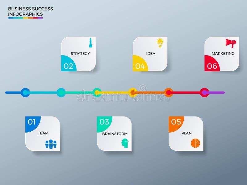 Σύγχρονο ζωηρόχρωμο πρότυπο infographics επιχειρησιακής υπόδειξης ως προς το χρόνο με τα εικονίδια και τα στοιχεία απεικόνιση αποθεμάτων