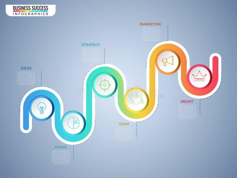 Σύγχρονο ζωηρόχρωμο πρότυπο infographics κύκλων επιχειρησιακής υπόδειξης ως προς το χρόνο με τα εικονίδια και τα στοιχεία Βήμα στ απεικόνιση αποθεμάτων
