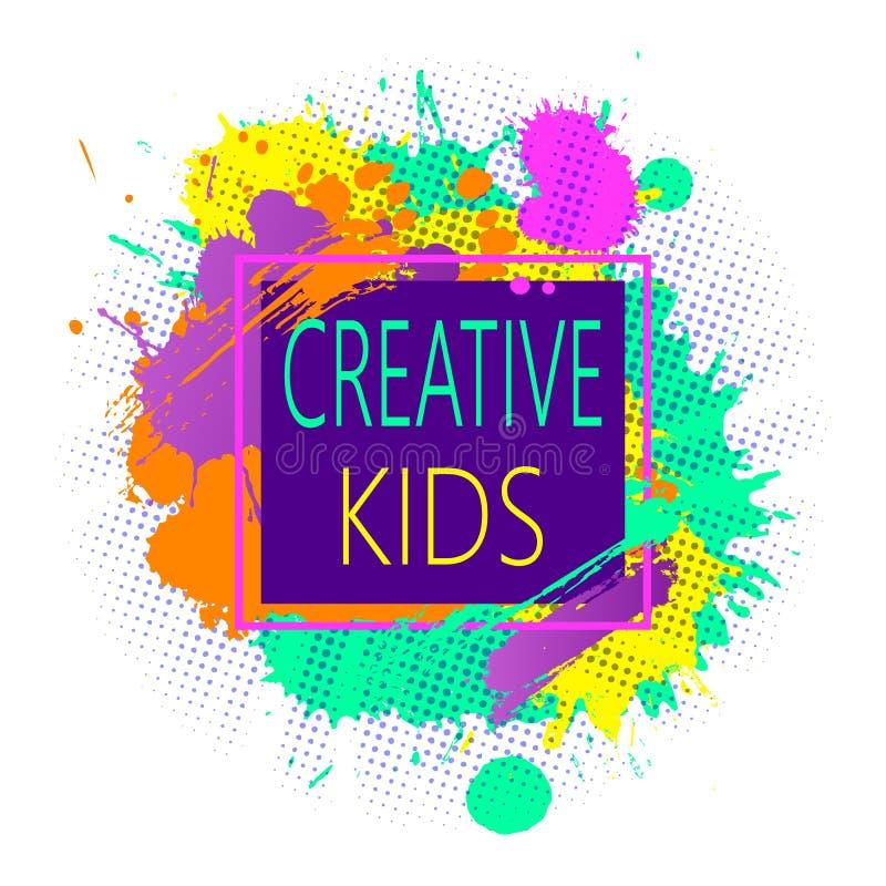 Σύγχρονο ζωηρόχρωμο σχέδιο πλαισίων με το έμβλημα παιδιών Greative για τις κατηγορίες παιδιών για την τέχνη και τη διασκέδαση σε  διανυσματική απεικόνιση