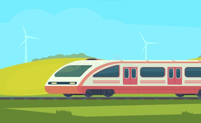 Σύγχρονο ηλεκτρικό μεγάλο τραίνο Passanger με τοπίο φύσης σε μια λοφώδη περιοχή υψηλή μεταφορά τραίνων ταχύτητας σιδηροδρόμων σφα ελεύθερη απεικόνιση δικαιώματος