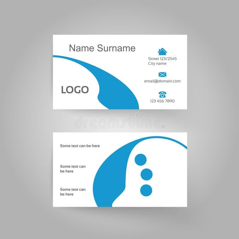 Σύγχρονο διακοσμητικό πρότυπο, λευκό και μπλε επαγγελματικών καρτών διανυσματική απεικόνιση