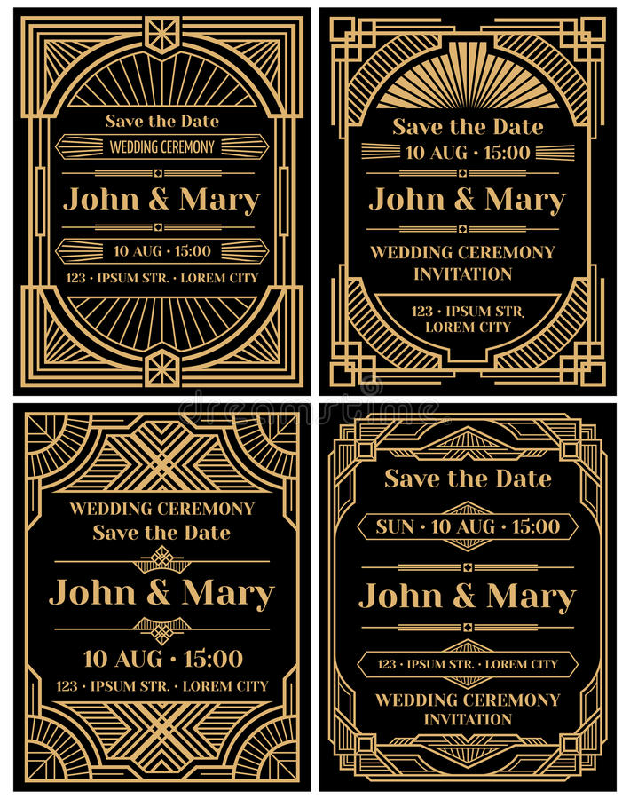 Σύγχρονο διανυσματικό πρότυπο γαμήλιας πρόσκλησης στο κλασικό αναδρομικό ύφος deco τέχνης διανυσματική απεικόνιση