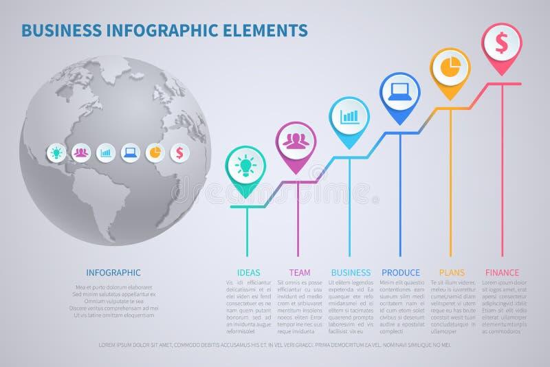 Σύγχρονο διανυσματικό infographic πρότυπο επιχειρησιακής παγκοσμιοποίησης με την τρισδιάστατα παγκόσμια σφαίρα και τα διαγράμματα ελεύθερη απεικόνιση δικαιώματος