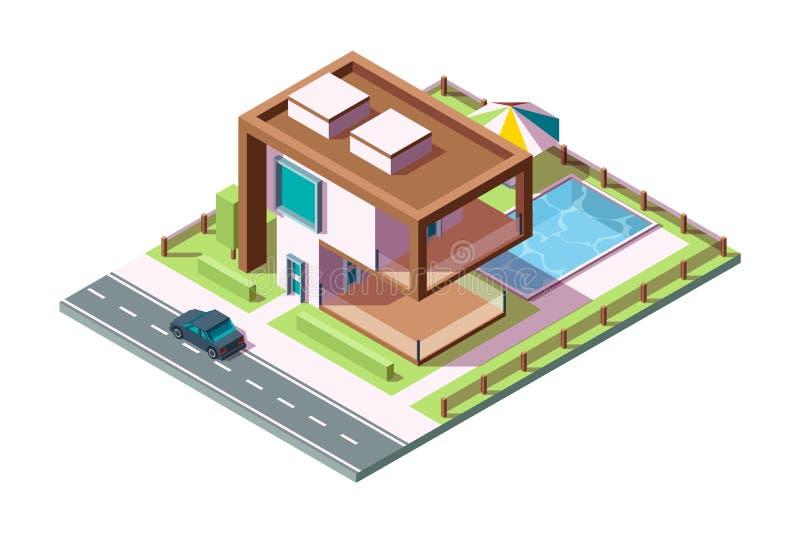 Σύγχρονο ιδιωτικό σπίτι Πολυτελές εξωτερικό κτίριο με ισομετρικό σπίτι για διανύσματα ποδηλάτων αυτοκινήτων, χαμηλό πολυ 3δ ελεύθερη απεικόνιση δικαιώματος