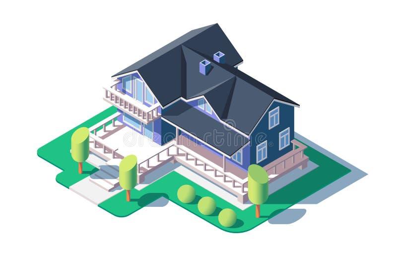 Σύγχρονο ιδιωτικό σπίτι ελεύθερη απεικόνιση δικαιώματος