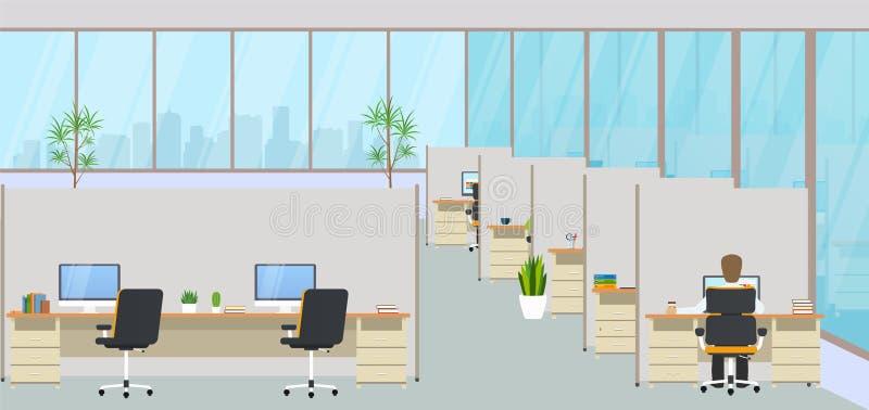 Σύγχρονο κέντρο γραφείων με τους εργασιακούς χώρους και υπάλληλοι Κενός χώρος εργασίας για την ομο-εργασία απεικόνιση αποθεμάτων