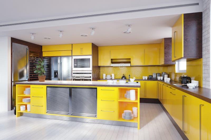 Σύγχρονο κίτρινο εσωτερικό κουζινών χρώματος ελεύθερη απεικόνιση δικαιώματος