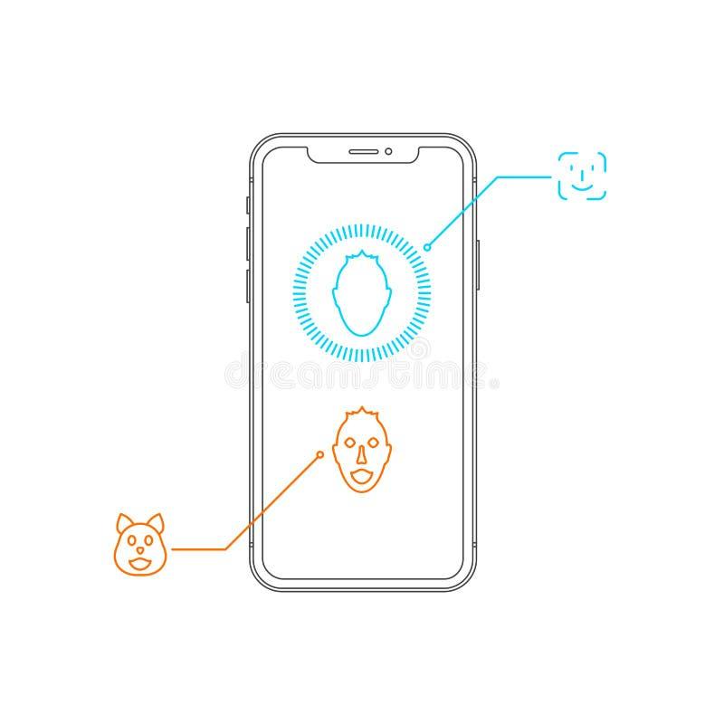 Σύγχρονο καθιερώνον τη μόδα εικονίδιο κτυπήματος γραμμών Frameless Smartphone διανυσματικό Επίδειξη με την εγκοπή Νέα χαρακτηριστ ελεύθερη απεικόνιση δικαιώματος