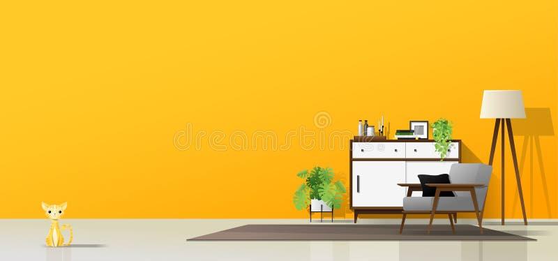 Σύγχρονο καθιστικό με τα ξύλινα έπιπλα, τις εγκαταστάσεις, τη γάτα και το κίτρινο υπόβαθρο τοίχων απεικόνιση αποθεμάτων
