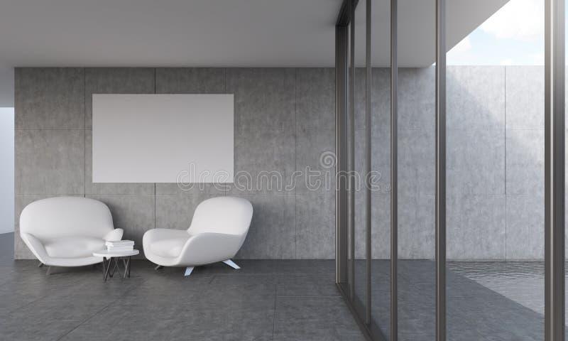 Σύγχρονο καθιστικό με την αφίσα ελεύθερη απεικόνιση δικαιώματος