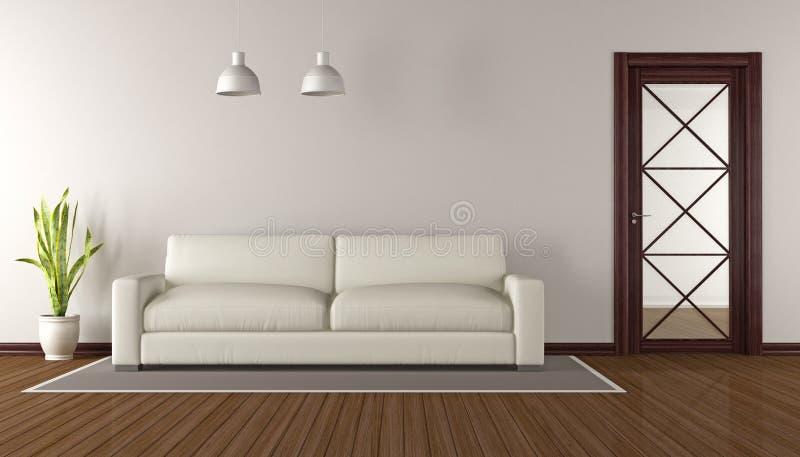 Σύγχρονο καθιστικό με την ξύλινη πόρτα γυαλιού - τρισδιάστατη απόδοση διανυσματική απεικόνιση