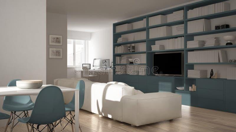 Σύγχρονο καθιστικό με τη γωνία εργασιακών χώρων, το μεγάλους ράφι και να δειπνήσει τον πίνακα, ελάχιστο λευκό ένα μπλε εσωτερικό  στοκ εικόνες