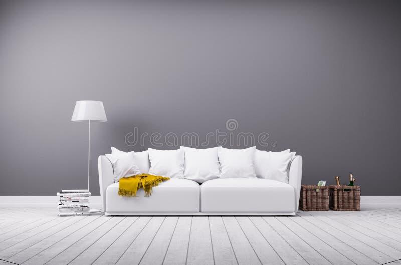 Σύγχρονο καθιστικό στο minimalistic ύφος με τον καναπέ διανυσματική απεικόνιση