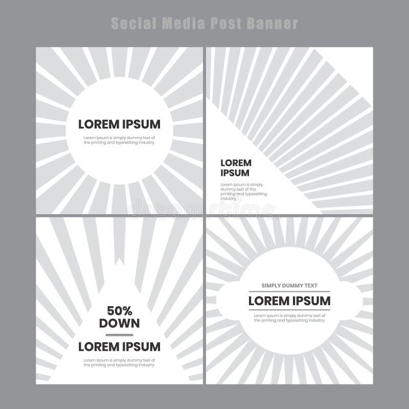 Σύγχρονο και κομψό κοινωνικό πρότυπο εμβλημάτων μέσων μετα Ελάχιστο μ διανυσματική απεικόνιση