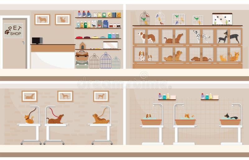 Σύγχρονο κατάστημα κατοικίδιων ζώων με τα κλουβιά του ζώου ελεύθερη απεικόνιση δικαιώματος