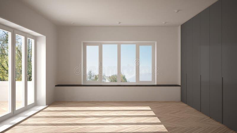 Σύγχρονο κενό διάστημα με τα μεγάλα πανοραμικά παράθυρα και το ξύλινο πάτωμα, μινιμαλιστικό άσπρο εσωτερικό σχέδιο αρχιτεκτονικής στοκ φωτογραφία με δικαίωμα ελεύθερης χρήσης
