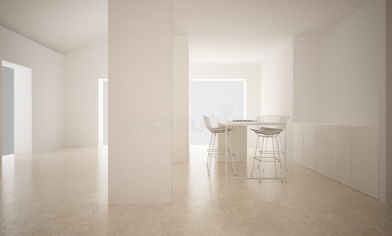 Σύγχρονο κενό διάστημα με το πάτωμα ασβεστόλιθων και την κουζίνα, μινιμαλιστικό εσωτερικό σχέδιο αρχιτεκτονικής απεικόνιση αποθεμάτων