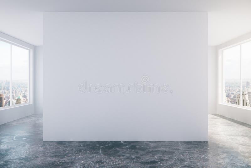 Σύγχρονο κενό δωμάτιο σοφιτών με τον άσπρο τοίχο, το τσιμεντένιο πάτωμα και το μεγάλο W στοκ εικόνες με δικαίωμα ελεύθερης χρήσης