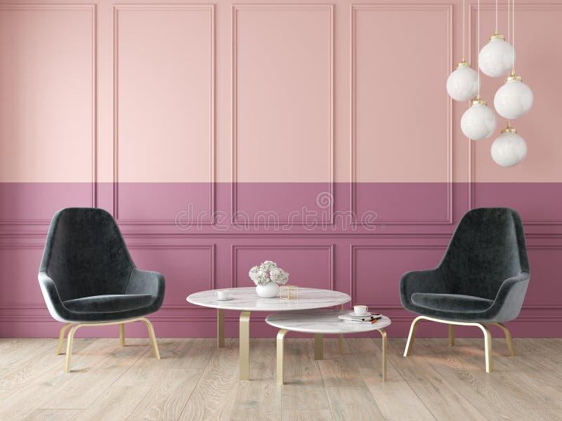 Σύγχρονο κλασικό διπλό εσωτερικό χρώματος με τις πολυθρόνες, το λαμπτήρα, τον πίνακα, τις επιτροπές τοίχων και το ξύλινο πάτωμα ελεύθερη απεικόνιση δικαιώματος