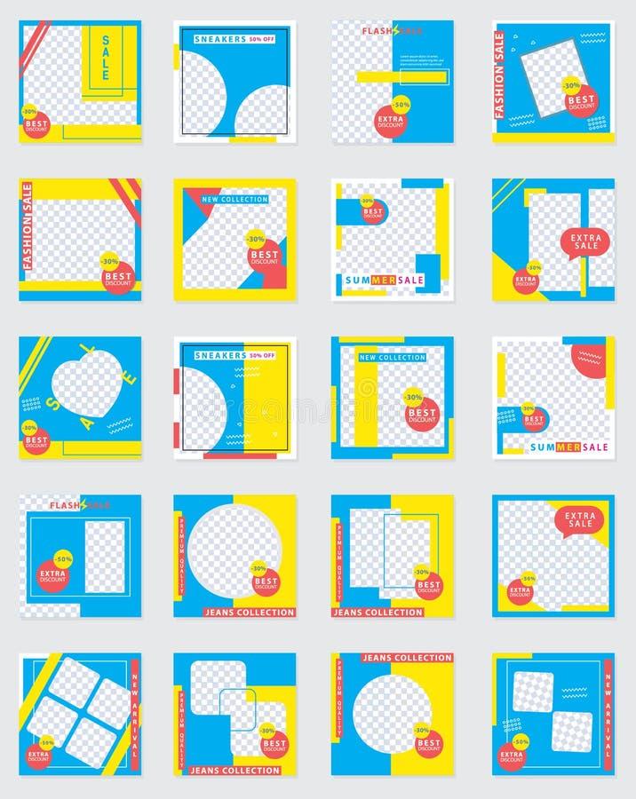 20 σύγχρονο κοινωνικό πρότυπο εμβλημάτων MEDIA φωτογραφικών διαφανειών Προωθητικό τετραγωνικό έμβλημα Ιστού για τα κοινωνικά μέσα διανυσματική απεικόνιση