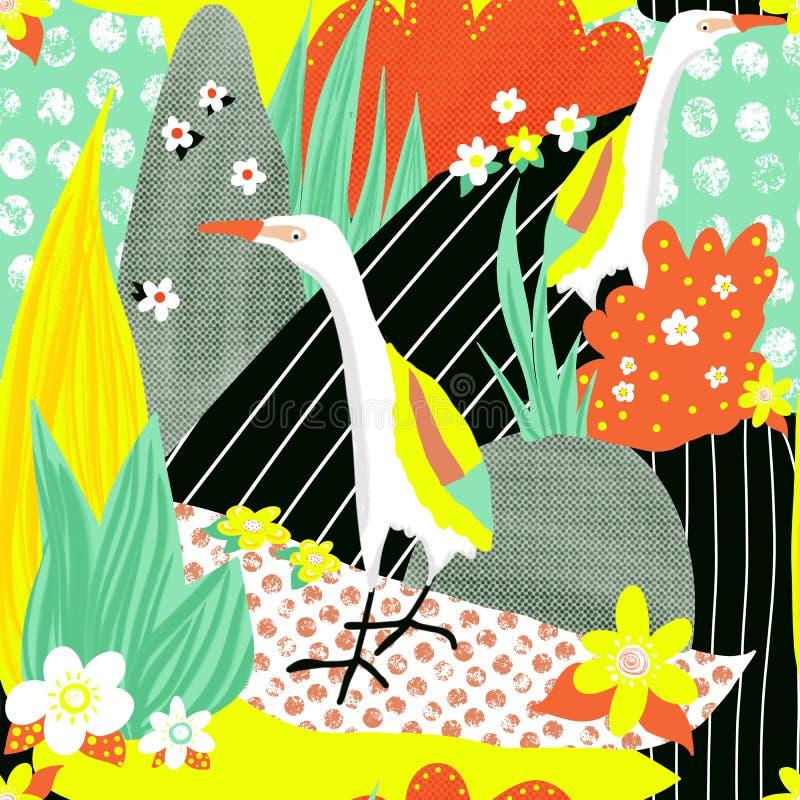 Σύγχρονο κολάζ λευκών πτηνών τύπου Egret χωρίς ραφή Σύγχρονη πολύχρωμη φύση των τροπικών ζώων στοκ εικόνες με δικαίωμα ελεύθερης χρήσης