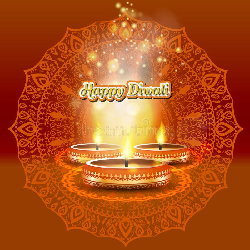 Σύγχρονο κομψό σχέδιο diwali με το κερί με χρυσό περίκομψο Καθιερώνον τη μόδα σχέδιο υποβάθρου Diwali επίσης corel σύρετε το διάν ελεύθερη απεικόνιση δικαιώματος