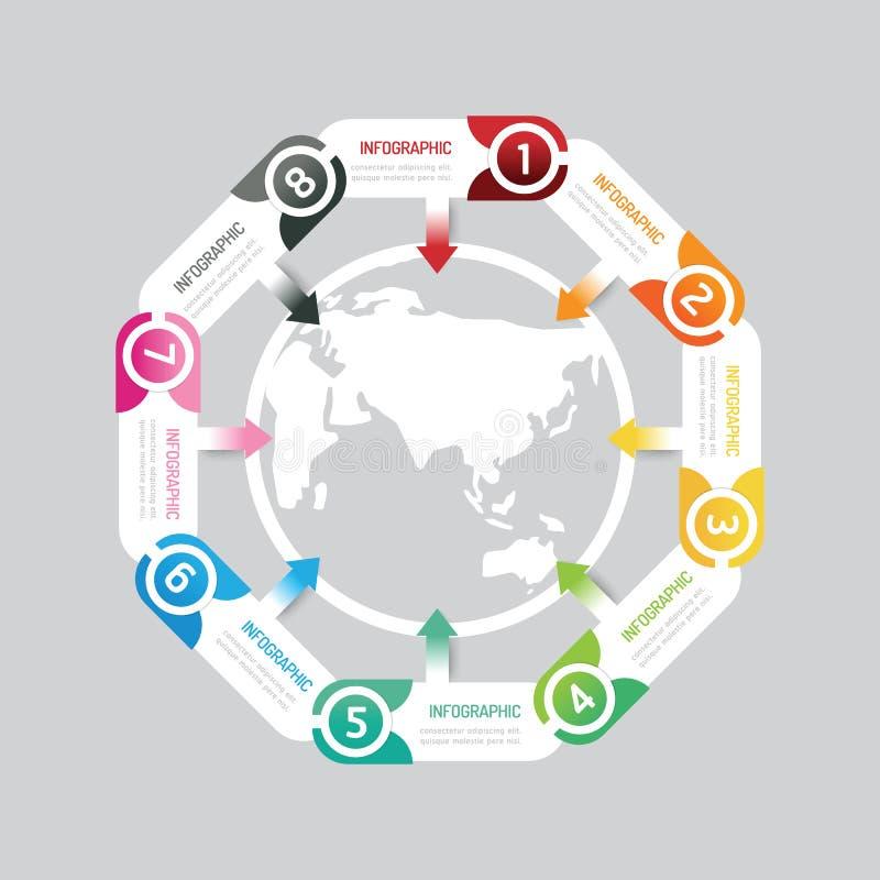 Σύγχρονο κουμπί εμβλημάτων Infographic με το σχέδιο εικονιδίων παγκόσμιων χαρτών διανυσματική απεικόνιση
