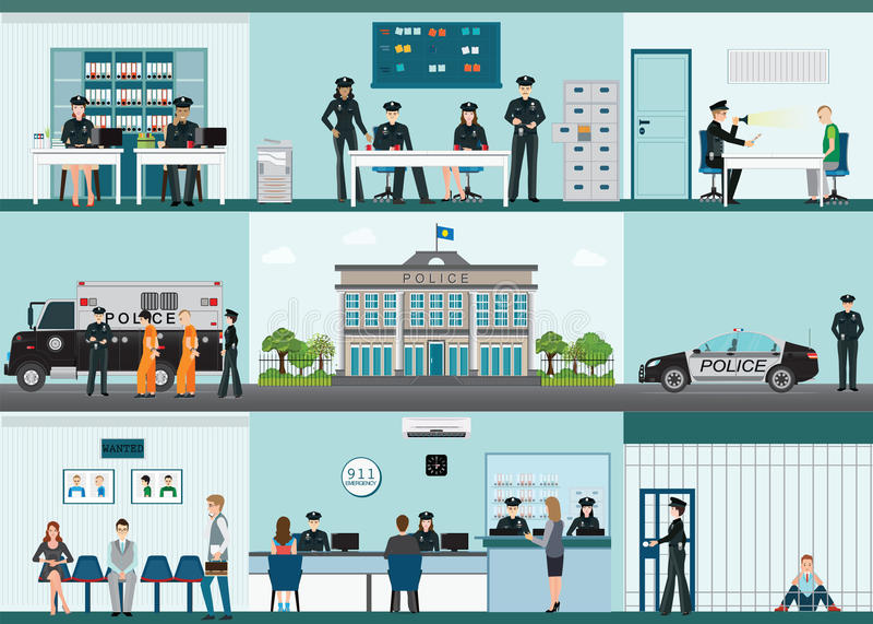 Σύγχρονο κτήριο και εσωτερικό αστυνομικών τμημάτων που τίθενται με το δωμάτιο γραφείων απεικόνιση αποθεμάτων