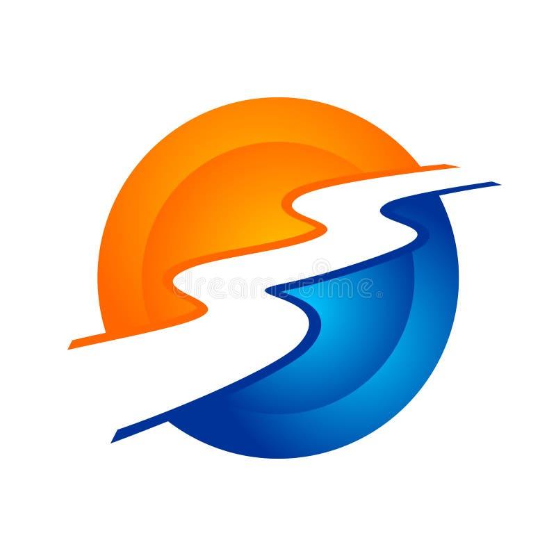 Σύγχρονο κυκλικό σχέδιο λογότυπων συμβόλων ρευμάτων ποταμών ελεύθερη απεικόνιση δικαιώματος